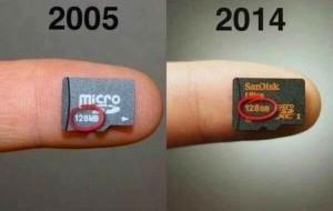Differenze di memoria tra sd-card del 2005 a 128MB e del 2014 a 128GB. Magari tra 10 anni avremo un 128 TB