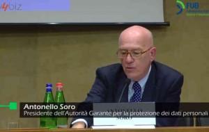 Antonello Soro, Garante Privacy, interviene al convegno FUB