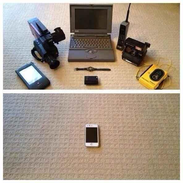 Differenze di peso e volume. Videocamera, portatile, PDA, registratore, orologio, fotocamera e altro, ora tutto in un leggero smartphone.._