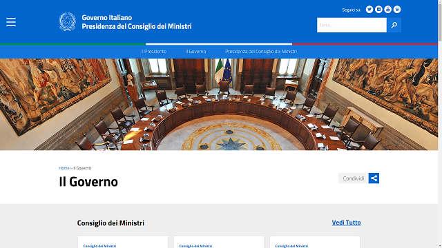 Restyling grafico per il sito web for Sito governo italiano