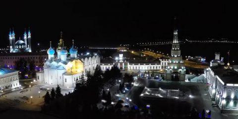 Video droni. Kazan Kremlin (Russia), la Cattedrale e la moschea, viste dal drone