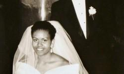 Barack e Michelle Obama il giorno del loro matrimonio il 3 ottobre 1992