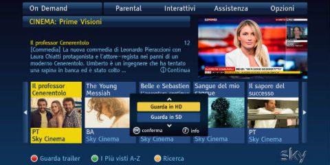 Sky per l'on demand in HD, debutta la nuova home page per la tv
