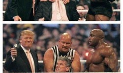 Donald Trump shaves the head of WWE Chairman Vince McMahon, held by Stone Cold & assisted by Bobby Lashley, WM 2007.