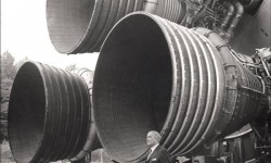 Wernher Von Braun with the Saturn 5 Rockets