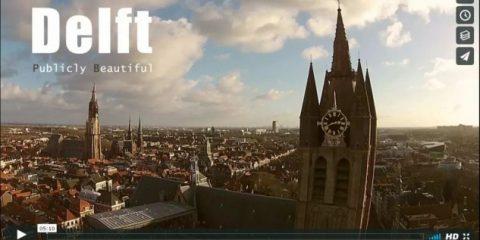 Videodroni. Nord romantico, la citta di Delft (Olanda) vista dal drone