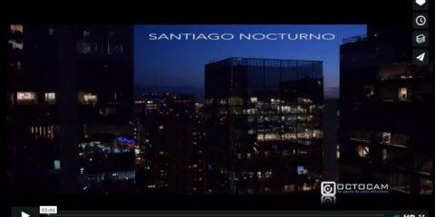 Videodroni. Santiago del Cile by night vista dal drone