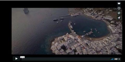 Videodroni. L'isola di Mykonos (Grecia) vista dal drone
