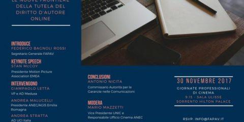 FAPAV, il 30 novembre a Sorrento seminario sul diritto d'autore online