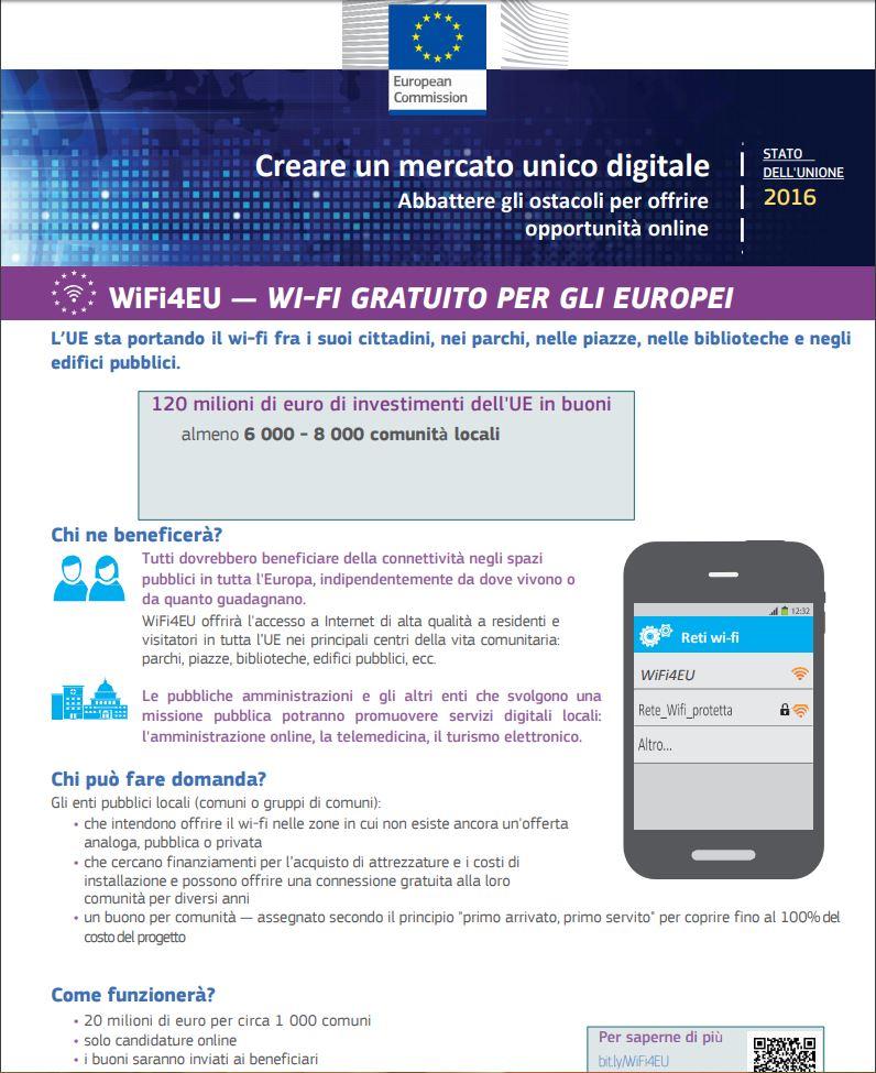 Finanziamenti europei ai comuni per il Wifi gratuito: da oggi le richieste
