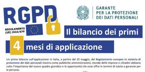 Garante Privacy: il bilancio dei primi 4 mesi di applicazione del GDPR