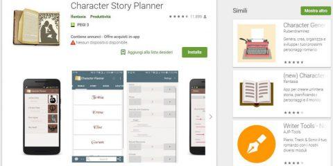 App4Italy. La recensione del giorno, Character Story Planner