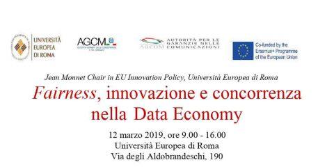 'Fairness, innovazione e concorrenza nella Data Economy'. Il 12 marzo il convegno all'Università Europea di Roma