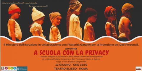 A scuola con la privacy, al teatro Eliseo di Roma in scena lo spettacolo del Miur e Garante Privacy