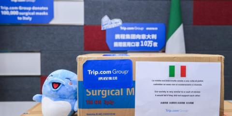 Covid-19, Trip.com dona 1 milione di mascherine  chirurgiche all'Italia