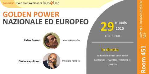 """Room 451: """"Golden Power Nazionale ed Europeo"""", in diretta il 29 maggio alle 15"""