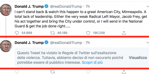 Trump prova a togliere l'immunità a Twitter. Il social 'nasconde' un suo tweet. E l'Europa?