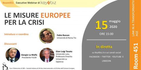 """Room 451: """"Le misure Europee per la crisi"""", in diretta domani 15 maggio alle 15,00. Gli Executive Webinar di Key4biz"""