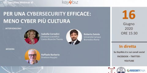 'Per una cybersecurity efficace: meno cyber più cultura'. Martedì 16 giugno Executive Webinar di Key4biz