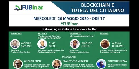 """Save the date: FUBinar """"Blockchain e tutela del cittadino"""". 20 maggio 2020"""