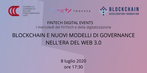 Webinar 'Blockchain e nuovi modelli di Governance nell'era del web 3.0', 8 luglio ore 17