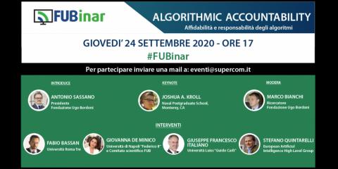 'Algorithmic Accountability'. Affidabilità degli algoritmi, il 24 settembre il webinar della Fub