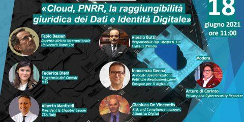 Cloud, PNRR, la raggiungibilità giuridica dei Dati e Identità digitale, il talk il 18 giugno alle 11:00
