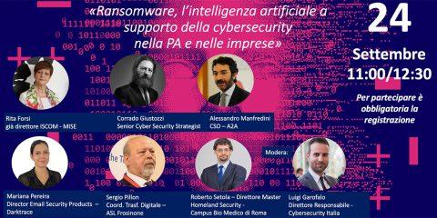 """Talk """"Ransomware, l'IA a supporto della cybersecurity nella PA e nelle imprese"""". 24 settembre ore 11"""